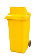 yellow garbage bins isolated on  white background