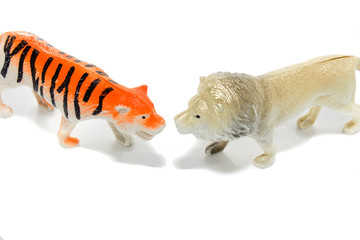 Toy animals isolate on white