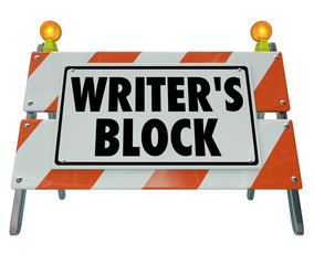 Writer's Block Words Road Construction Barrier Barricade
