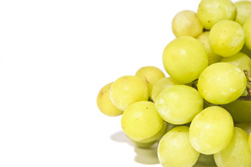 sweet green seedless grapes close up