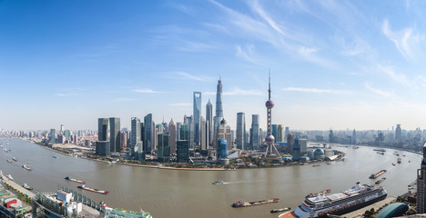 shanghai lujiazui panoramic view and the huangpu river