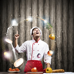 Cook at kitchen