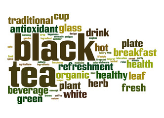 Black tea word cloud