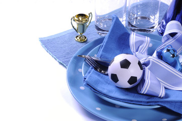 Soccer football party table in blue and white team colors