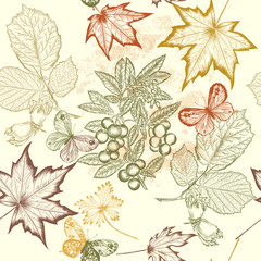 Floral  vector seamless wallpaper with foliage
