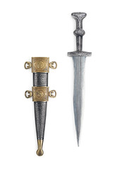 Antique Roman dagger with scabbard