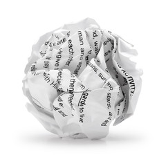 Paper ball - Crumpled sheet, Junk piece of paper in round shape