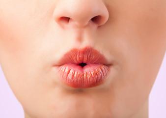 Beautiful woman red lips close up