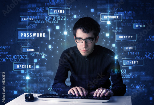 Hacker programing in technology enviroment with cyber icons - 65363513