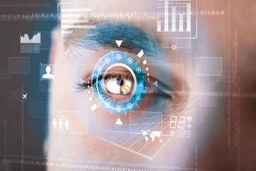 Futuristic modern cyber man with technology screen eye panel