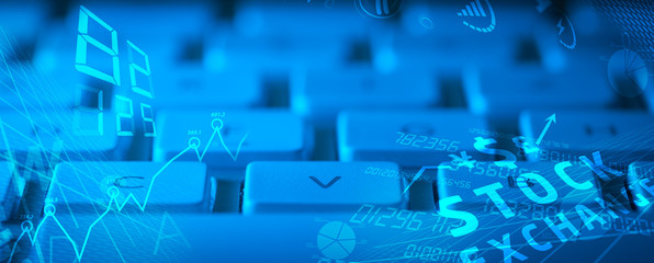 Keyboard with glowing business icons