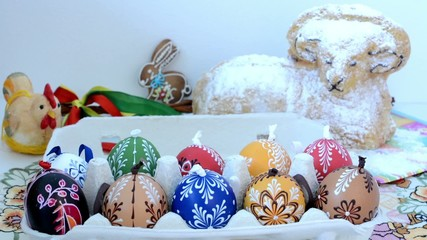 Easter decoration - package of eggs with other decorations (ram)