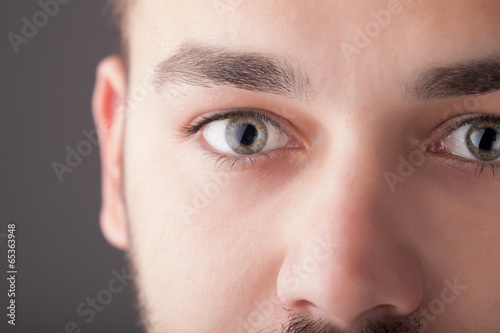Portrait of a handsome man close up eye