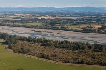 aerial view of Rakaia riverbed, New Zealand