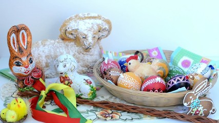 Easter decoration - ram to eat with painted eggs