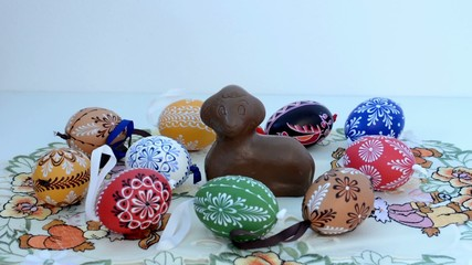 Easter decoration - painted eggs with ram
