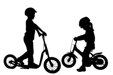Vector silhouette of a children.