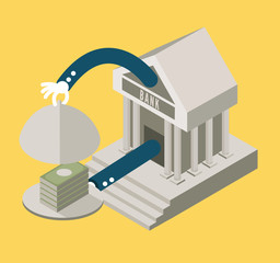 Bank serving Money. . flat design elements. vector