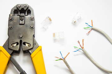 Tools for crimping network cable