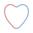 Half of chain in red and half of chain in blue colour