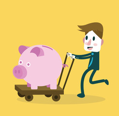 Businessman happy with big piggy bank. money saving. vector
