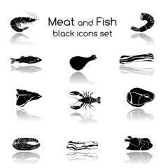 Fish and Meat Black Icons