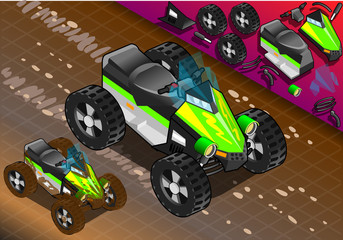 Isometric Quad Bike in Front View