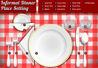 Set of Place Setting Informal Dinner