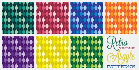 Retro vintage argyle patterns in vector format.