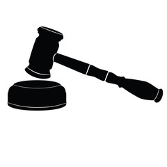 Judicial gavel on white background. Icon.