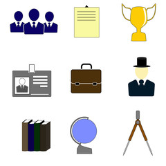 Color icons for education and business.