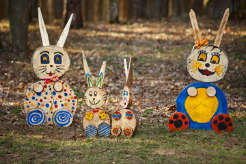 Rabbit figures in the forest