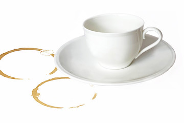 Coffee cup on white background with stains.