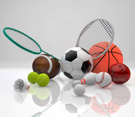 Sports equipment, basketball, soccer, tennis, baseball,golf