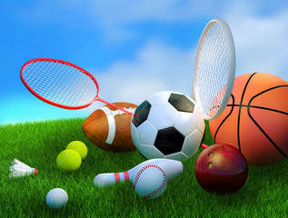 Sports equipment, basketball, soccer, tennis, baseball