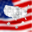 Vote for America, election background made from white puzzle pie