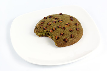Green tea Cookie is bited