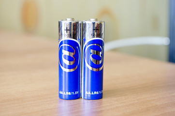 Two blue battery