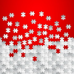 Vector Abstract red background made from white puzzle pieces