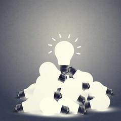 Bulbs and idea on vintage tone background, vector illustration