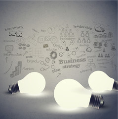Bulb and Business strategy on vintage tone background, vector il