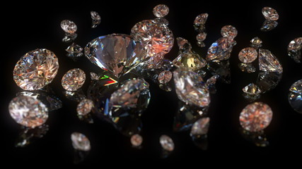 beautiful diamonds background with changing depth of field. loop