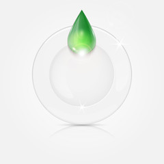 white plate and green drop.dishwashing liquid on a background di