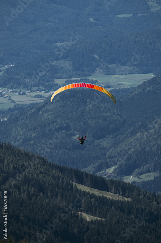 Paraglider over Austrian Alps with Karawanken Range