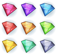 Cartoon Gems And Diamonds Icons Set