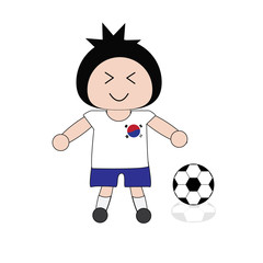 Illustration boy in Korea football uniform