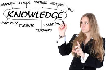 school girl drawing plan of knowledge