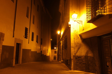 Night view on rocky bank Jucar in Cuenca. Castilla-La Mancha, Sp