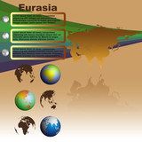 Eurasia map on brown background vector poster
