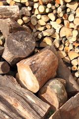 fertiges Brennholz im Hochformat